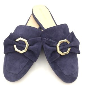 NWOB Cole Haan Leather Navy Suede Dress Mules